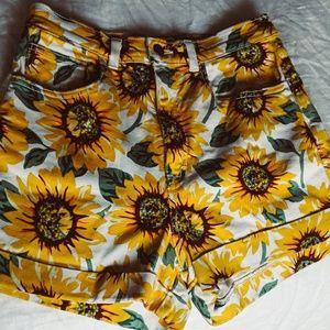 American Apparel High Waisted Sunflower Shorts